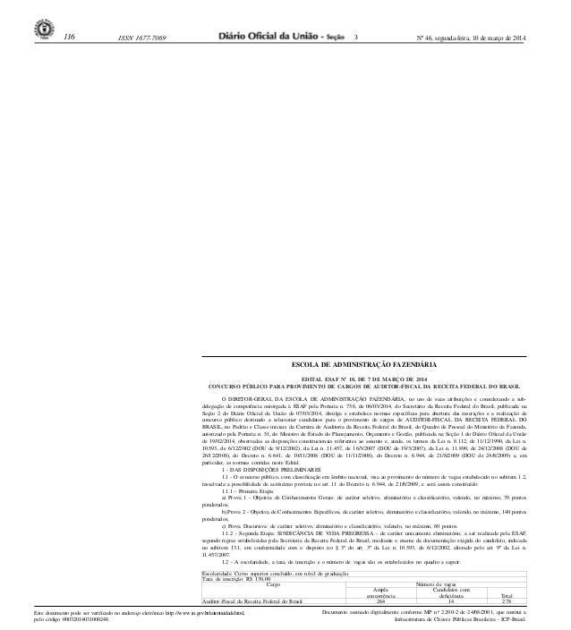 Nº 46, segunda-feira, 10 de março de 2014116 ISSN 1677-7069 Este documento pode ser verificado no endereço eletrônico http...