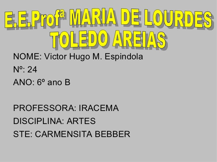 <ul><li>NOME: Victor Hugo M. Espindola </li></ul><ul><li>Nº: 24 </li></ul><ul><li>ANO: 6º ano B </li></ul><ul><li>PROFESSO...