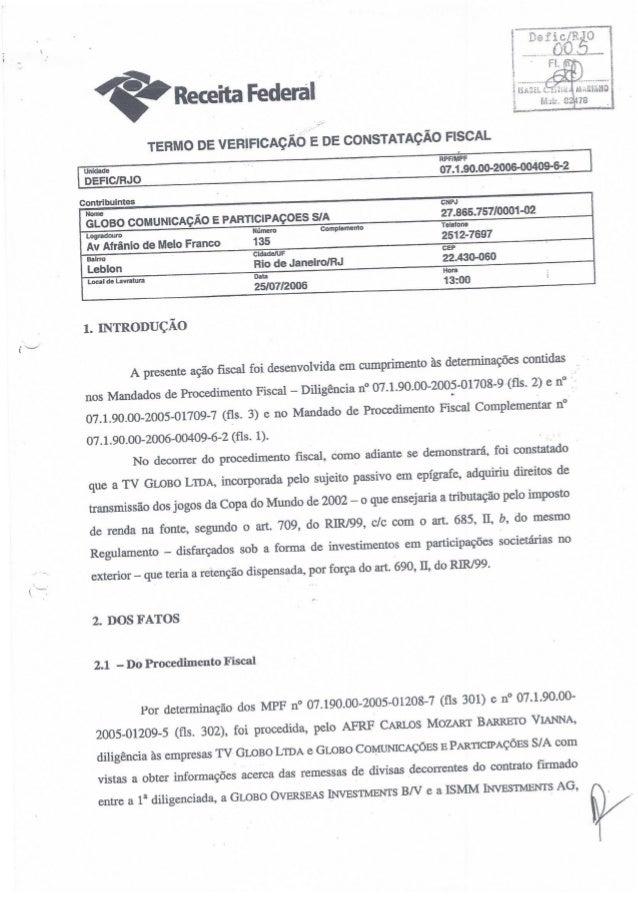 Relatório do Processo da Receita Federal contra a Globo