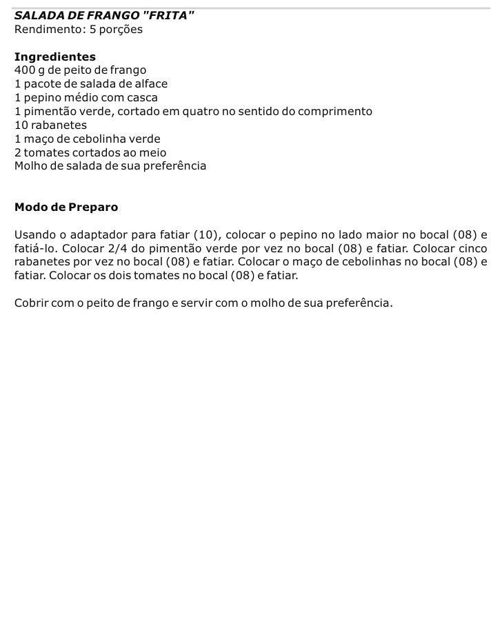 """SALADA DE FRANGO """"FRITA"""" Rendimento: 5 porções  Ingredientes 400 g de peito de frango 1 pacote de salada de alface 1 pepin..."""