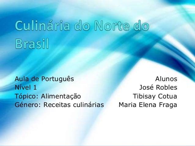 Aula de Português Alunos Nível 1 José Robles Tópico: Alimentação Tibisay Cotua Género: Receitas culinárias Maria Elena Fra...