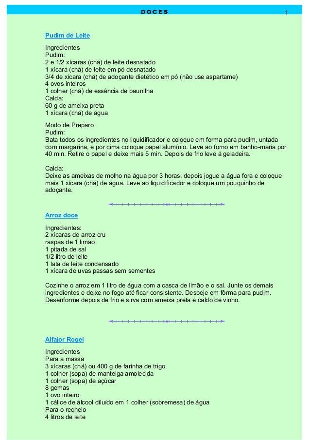 D O C E SD O C E SD O C E SD O C E S 1 Pudim de Leite Ingredientes Pudim: 2 e 1/2 xícaras (chá) de leite desnatado 1 xícar...