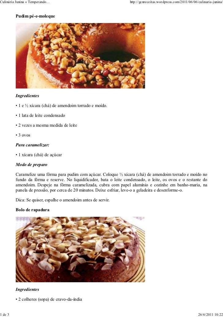 Culinária Junina « Temperando…                                       http://gcnreceitas.wordpress.com/2011/06/06/culinaria...