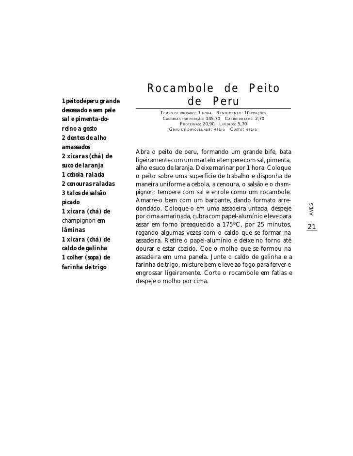 Rocambole de Peito 1 peito de peru grande            de Peru desossado e sem pele              TEMPO DE PREPARO : 1 HORA R...