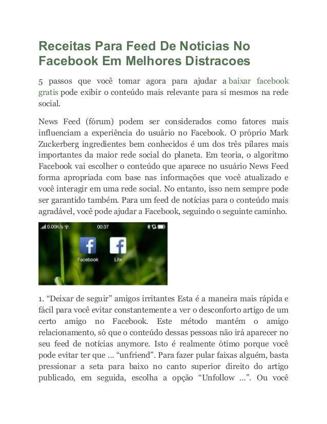 Receitas Para Feed De Noticias No Facebook Em Melhores Distracoes 5 passos que você tomar agora para ajudar a baixar faceb...