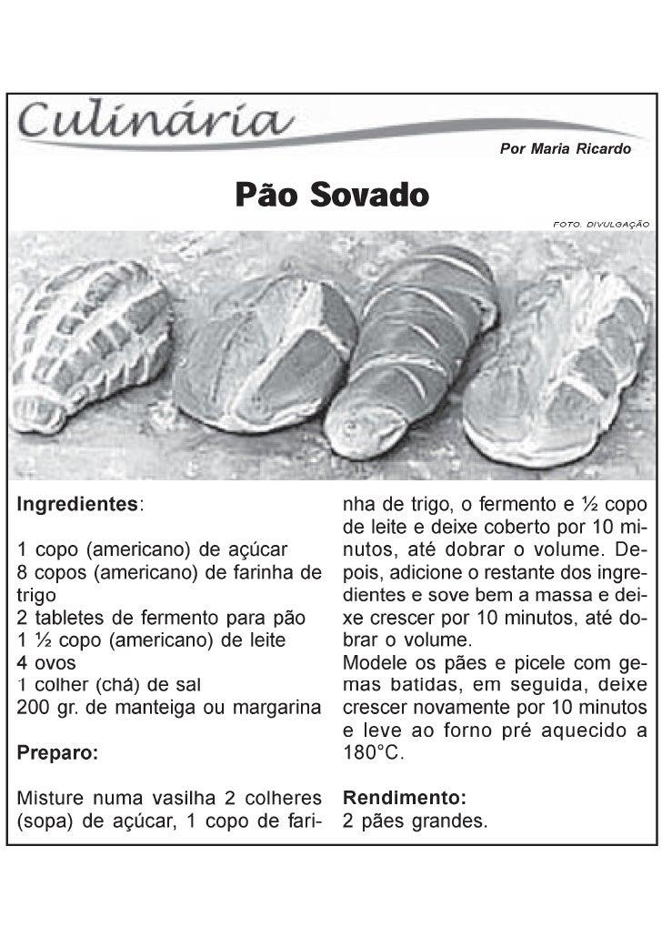 Receitas pão sovado