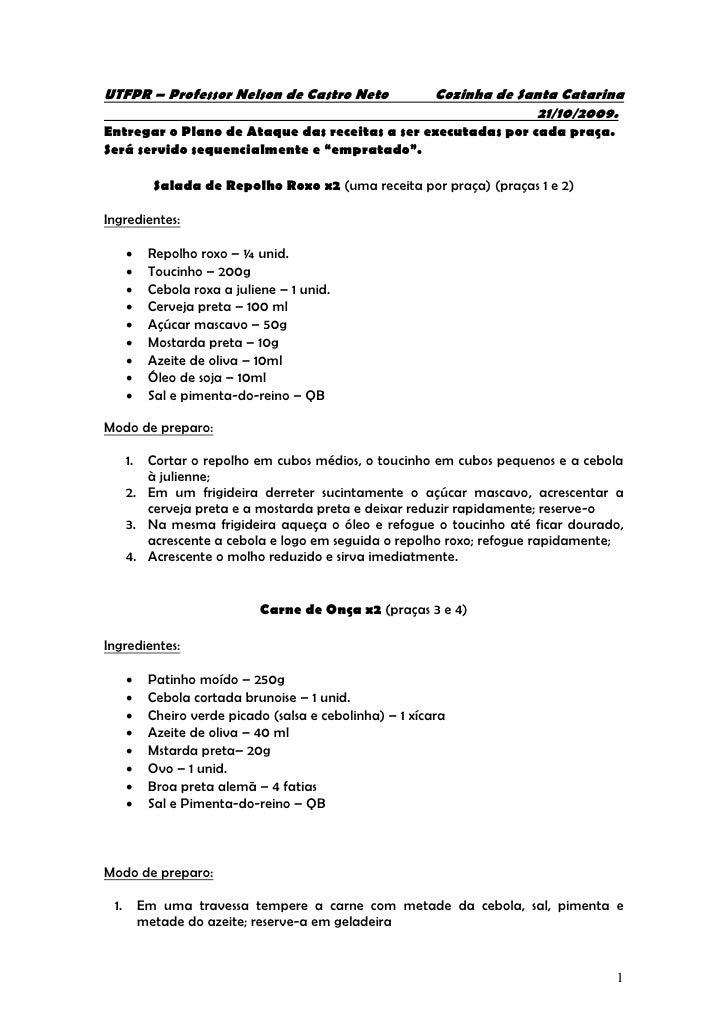 UTFPR – Professor Nelson de Castro Neto                     Cozinha de Santa Catarina                                     ...