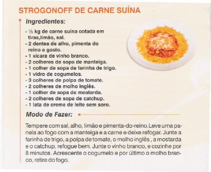 Receita strogonoff de carne suina