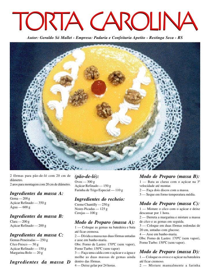 TORT CAROLINA      A      Autor: Geraldo Só Mallet - Empresa: Padaria e Confeitaria Apetito - Restinga Seca - RS     2 fôr...