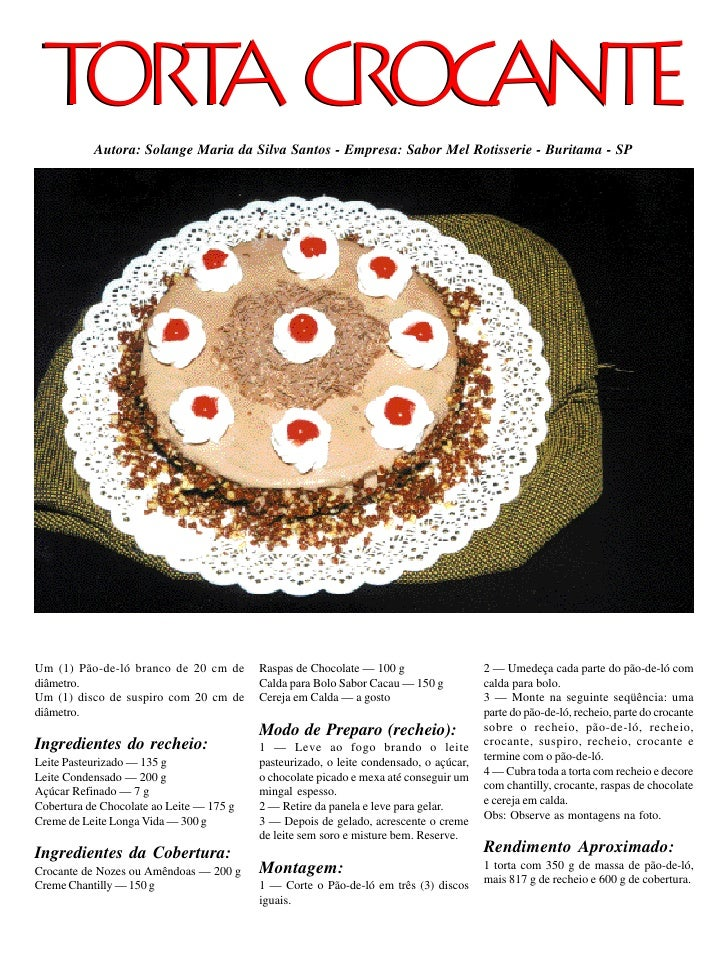 TO T CROCANTE    RA            Autora: Solange Maria da Silva Santos - Empresa: Sabor Mel Rotisserie - Buritama - SP     U...