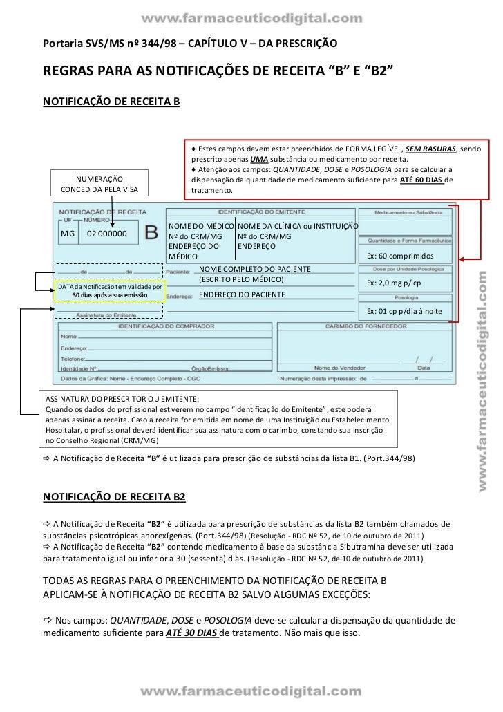 """Portaria SVS/MS nº 344/98 – CAPÍTULO V – DA PRESCRIÇÃOREGRAS PARA AS NOTIFICAÇÕES DE RECEITA """"B"""" E """"B2""""NOTIFICAÇÃO DE RECE..."""
