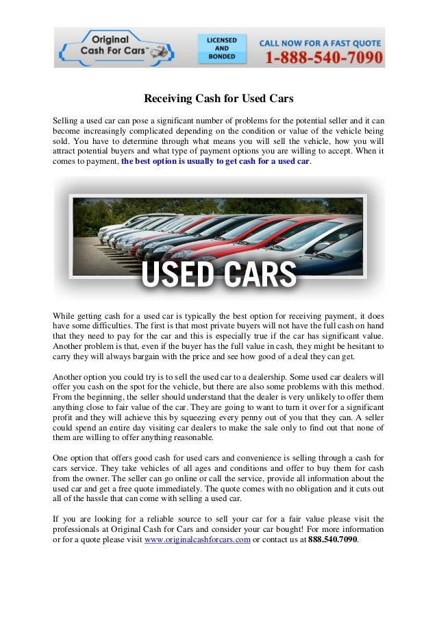 Receiving cash for used cars