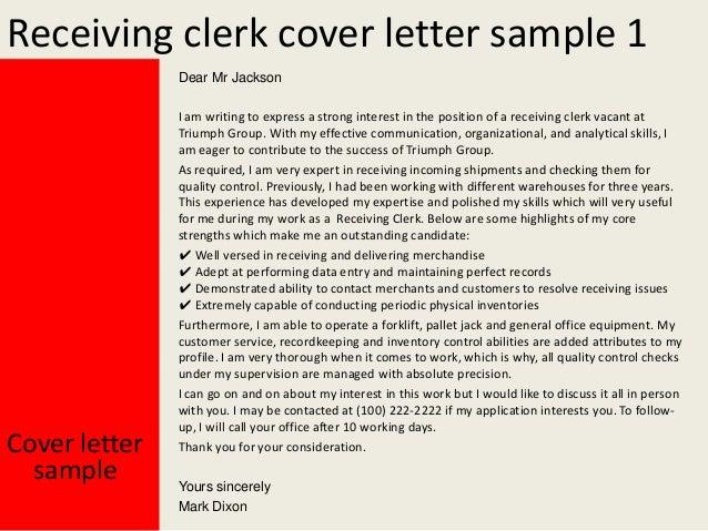 2. Receiving Clerk Cover Letter ...