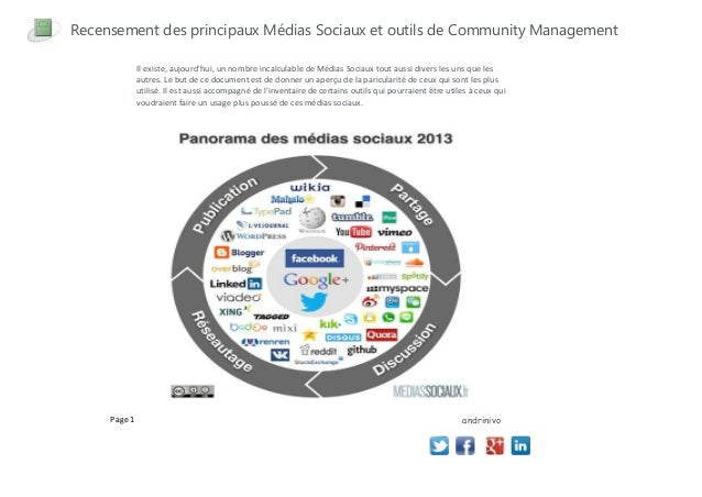 Recensement des principaux Médias Sociaux et outils de Community ManagementIl existe, aujourdhui, un nombre incalculable d...
