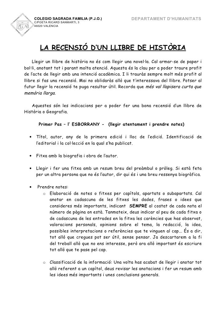 COLEGIO SAGRADA FAMILIA (P.J.O.)                DEPARTAMENT D'HUMANITATS      C/POETA RICARD SANMARTI, 3      46020 VALENC...