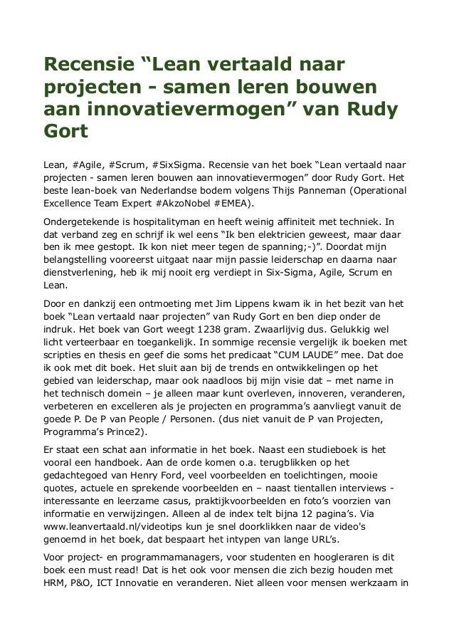 """Recensie """"Lean vertaald naar projecten - samen leren bouwen aan innovatievermogen"""" van Rudy Gort Lean, #Agile, #Scrum, #Si..."""