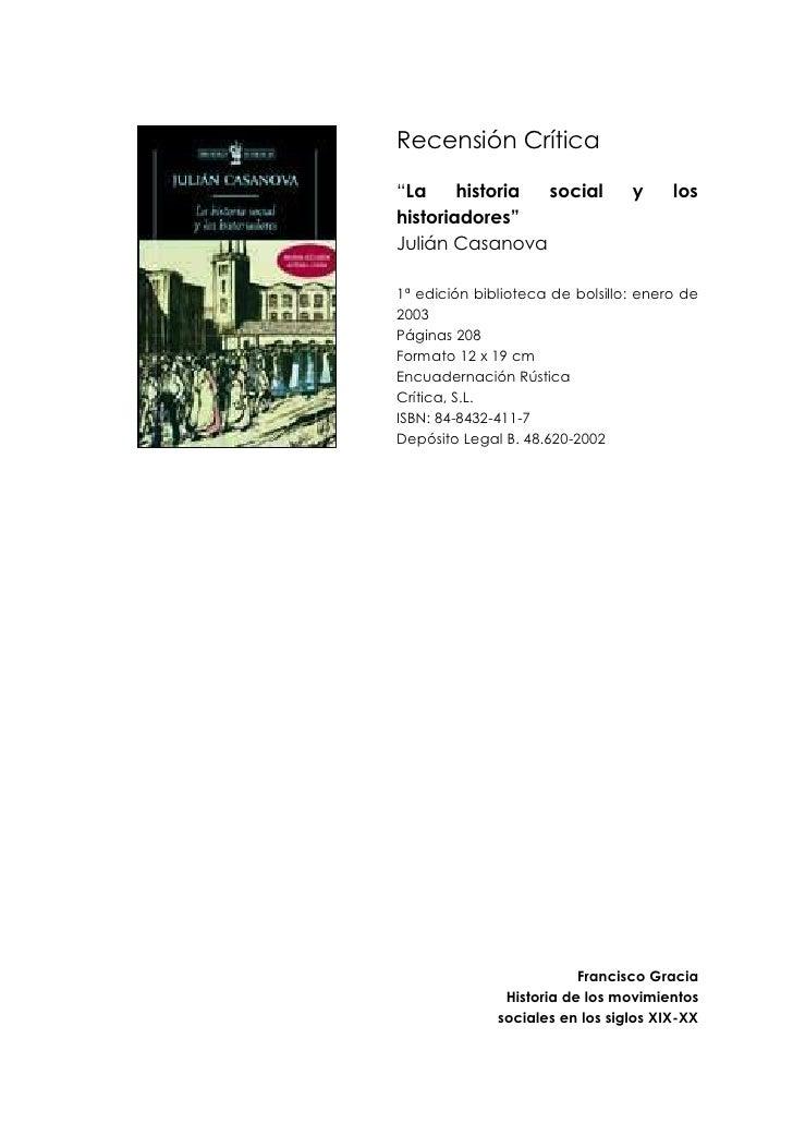 Recensión crítica La historia social y los historiadores