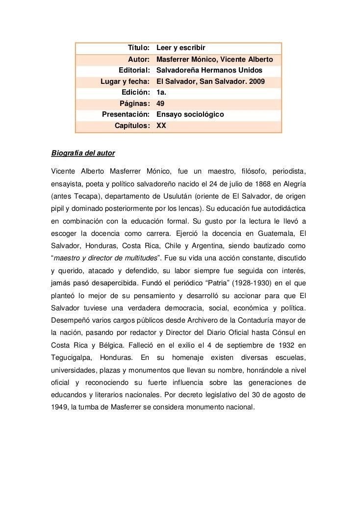 Título: Leer y escribir                        Autor: Masferrer Mónico, Vicente Alberto                      Editorial: Sa...