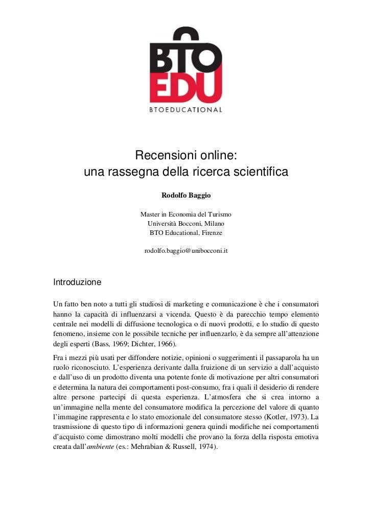 Recensioni online:          una rassegna della ricerca scientifica                                    Rodolfo Baggio      ...