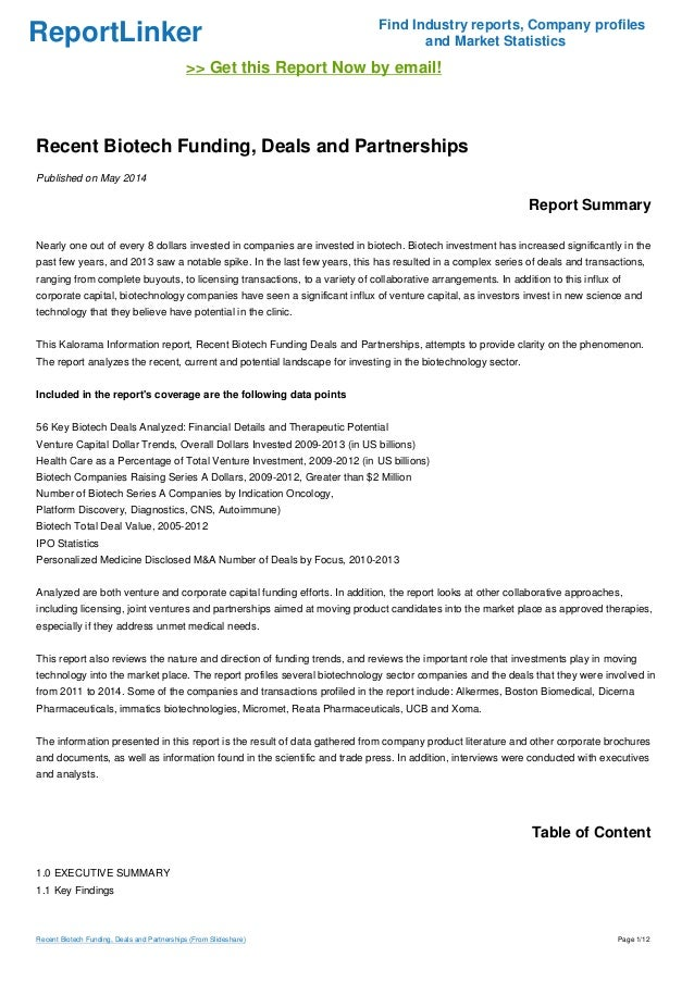 ReportLinker Find Industry reports, Company profiles and Market Statistics >> Get this Report Now by email! Recent Biotech...