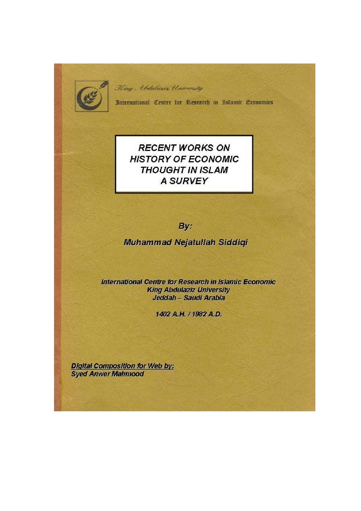 RECENT WORK ON          HISTORY OF ECONOMIC THOUGHT                     IN ISLAM                                        A ...