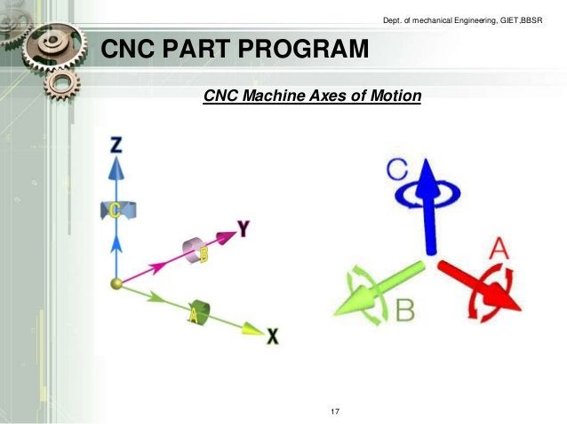 CNC PART PROGRAM  Dept. of mechanical Engineering, GIET,BBSR  CNC Machine Axes of Motion  17