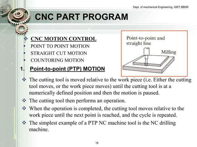 CNC PART PROGRAM   CNC MOTION CONTROL   POINT TO POINT MOTION   STRAIGHT CUT MOTION   COUNTORING MOTION  Dept. of mech...