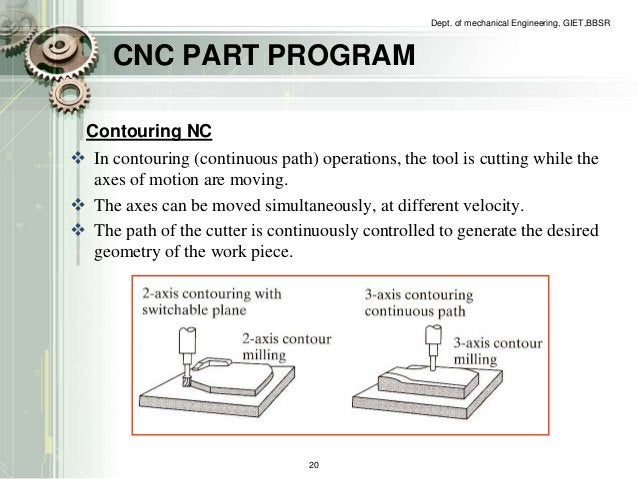 CNC PART PROGRAM  Dept. of mechanical Engineering, GIET,BBSR  Contouring NC   In contouring (continuous path) operations,...