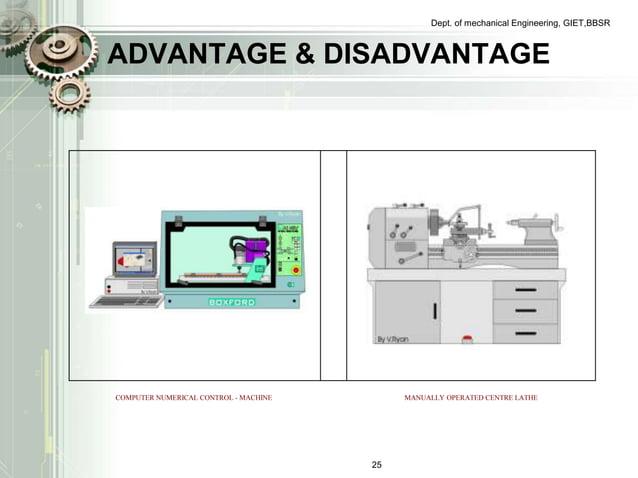 Dept. of mechanical Engineering, GIET,BBSR  ADVANTAGE & DISADVANTAGE  COMPUTER NUMERICAL CONTROL - MACHINE MANUALLY OPERAT...