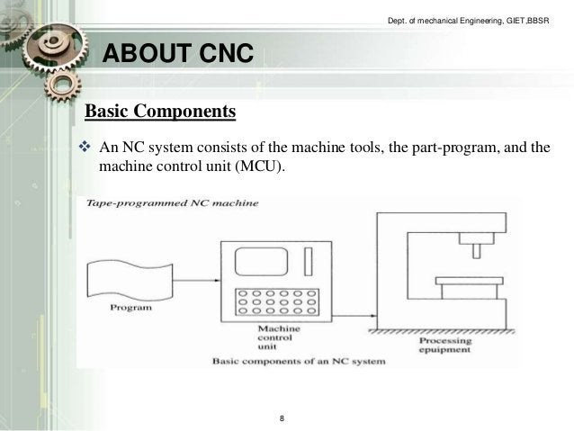 ABOUT CNC  Dept. of mechanical Engineering, GIET,BBSR  Basic Components   An NC system consists of the machine tools, the...