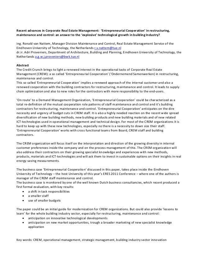 RecentadvancesinCorporateRealEstateManagement:'EntrepreneurialCooperation'inrestructuring, maintenanceandcon...