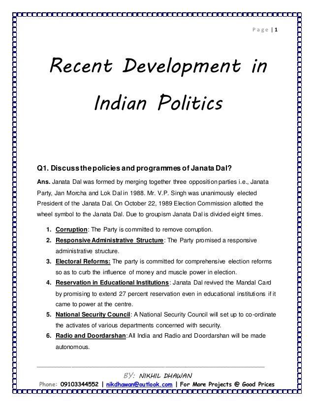 Recent Development In Indian Politics Pol Science
