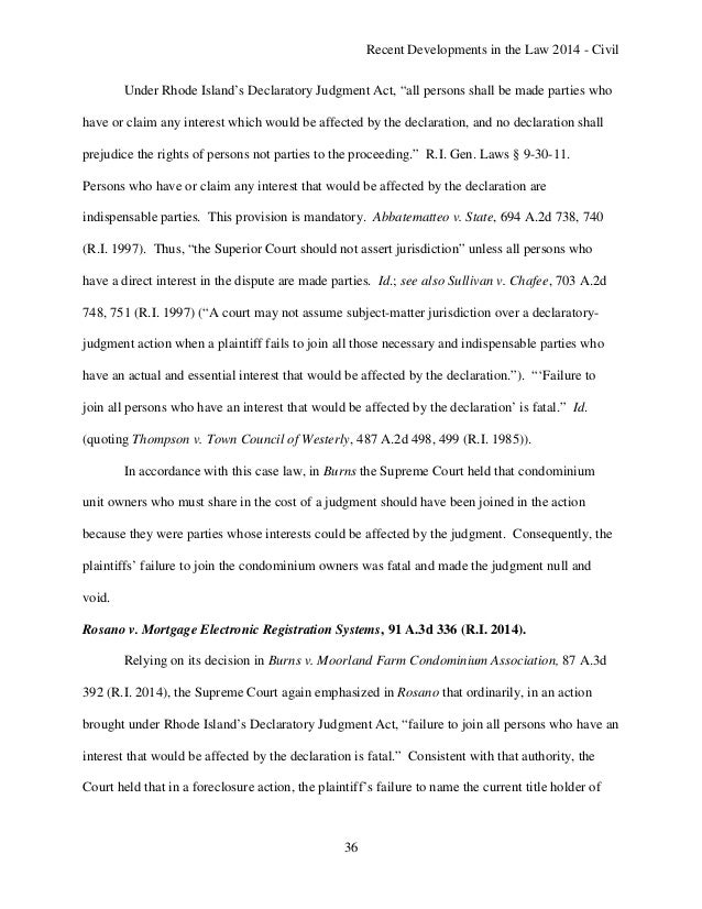 Recent Developments in Rhode Island Law 2014 - State Courts and Civil…