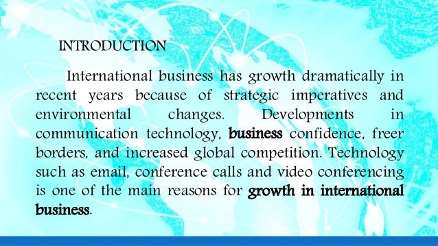 factors leading to growth in international business