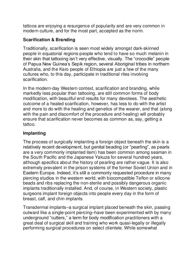 body modification deviance society Article 14: the relationship between tattooing and deviance in contemporary  society--joshua adams article 15: self-mutilation and body modification--jimmy d.
