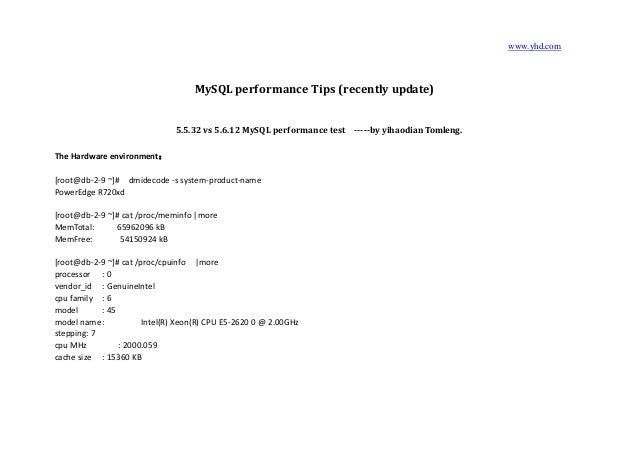 www.yhd.com MySQL performance Tips (recently update) 5.5.32 vs 5.6.12 MySQL performance test -----by yihaodian Tomleng. Th...