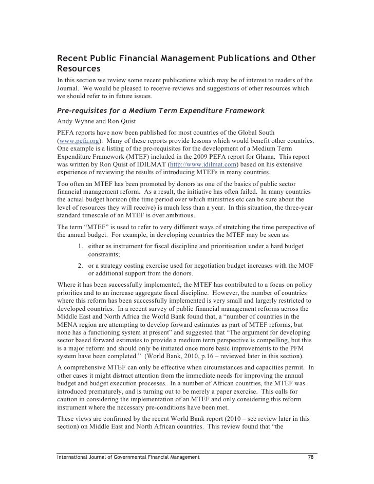 Recent Public Financial Management Publications and OtherResourcesIn this section we review some recent publications which...