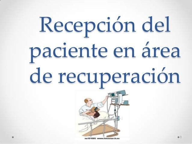 Recepción del paciente en área de recuperación 1