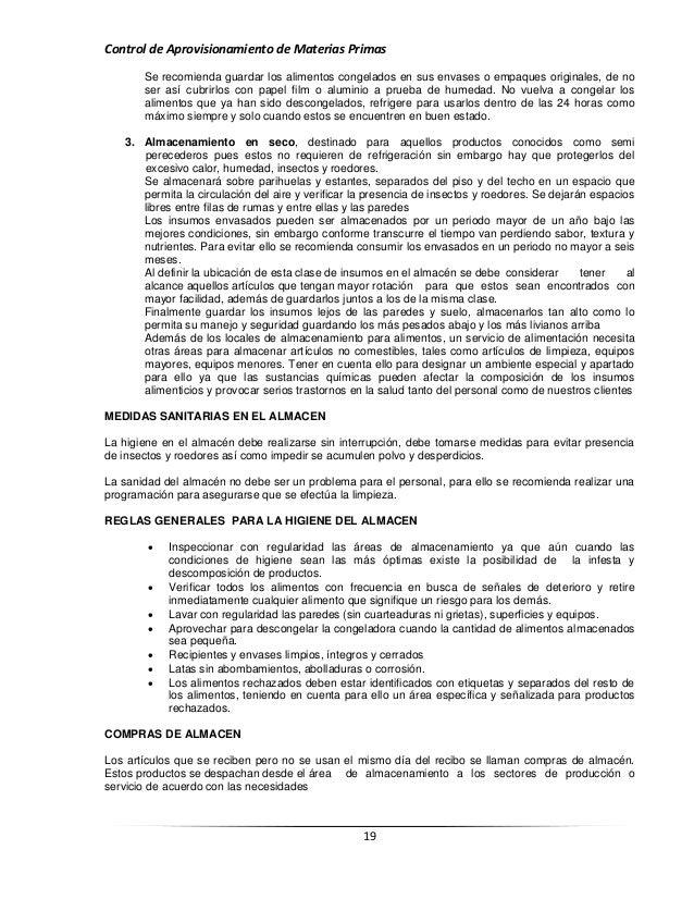 Recepción, organización y control de materias primas (alimentos y beb…