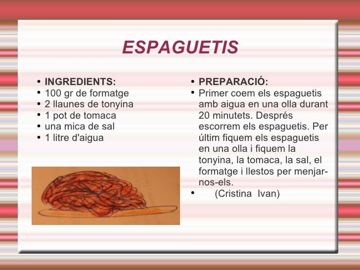 ESPAGUETIS <ul><li>INGREDIENTS: </li></ul><ul><li>100 gr de formatge </li></ul><ul><li>2 llaunes de tonyina </li></ul><ul>...