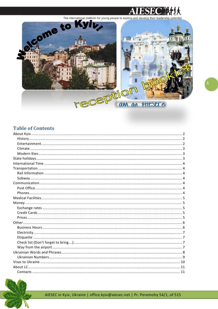 1     Table of Contents About Kyiv ..........................................................................................
