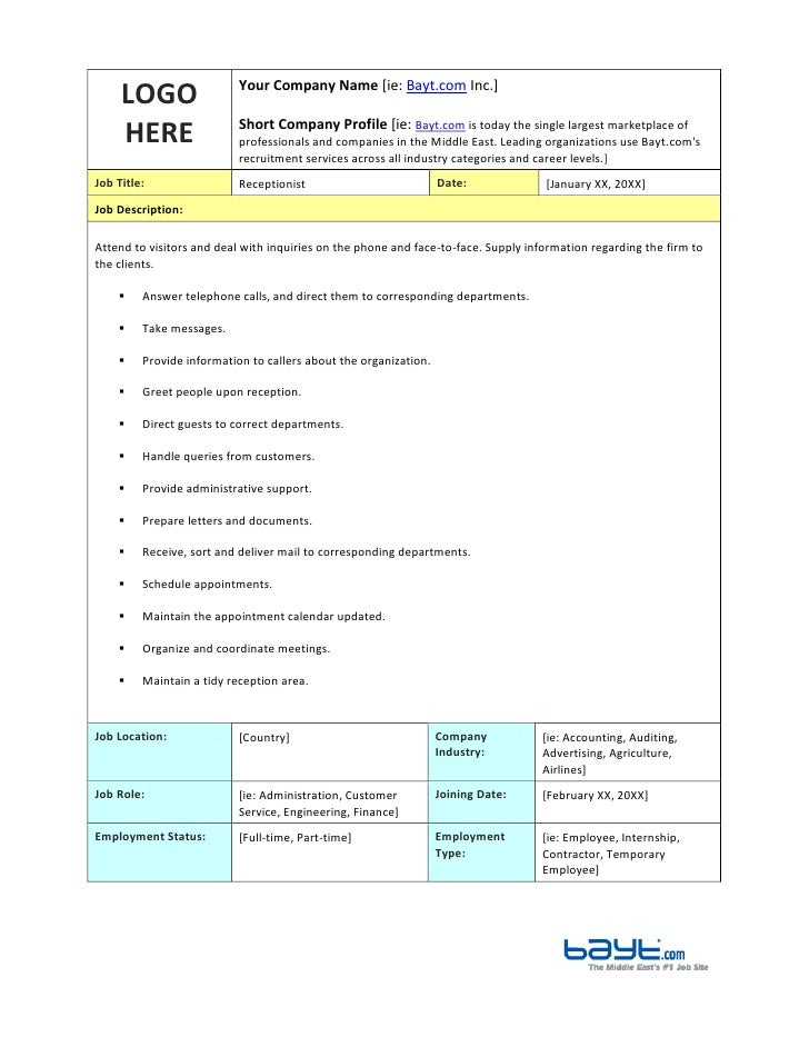 Wonderful LOGO HEREYour Company Name [ie: Bayt.com Inc.]Short Company Profile Receptionist  Job Description Template By ...