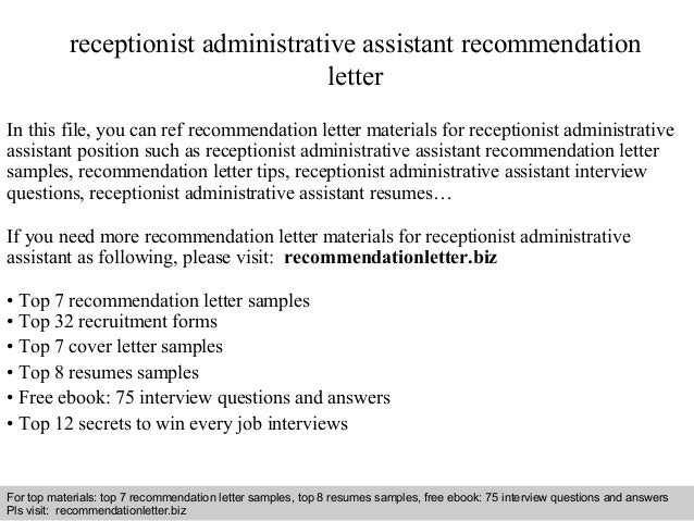 Receptionist Administrative Assistant Recommendation Letter In This File,  You Can Ref Recommendation Letter Materials Fo Recommendation Letter Sample  ...