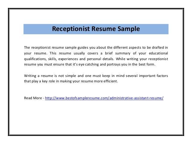 skills for receptionist resume