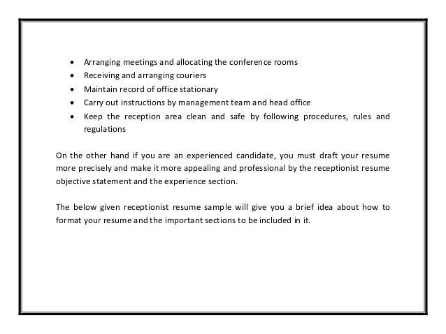 Resume examples receptionist job   JAN ZLOTNICK