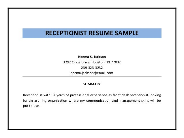 RECEPTIONIST RESUME SAMPLE ...  Sample Receptionist Resume