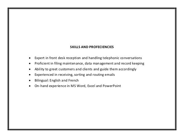 6 skills and profeciencies expert in front desk reception - Front Desk Receptionist Resume Sample