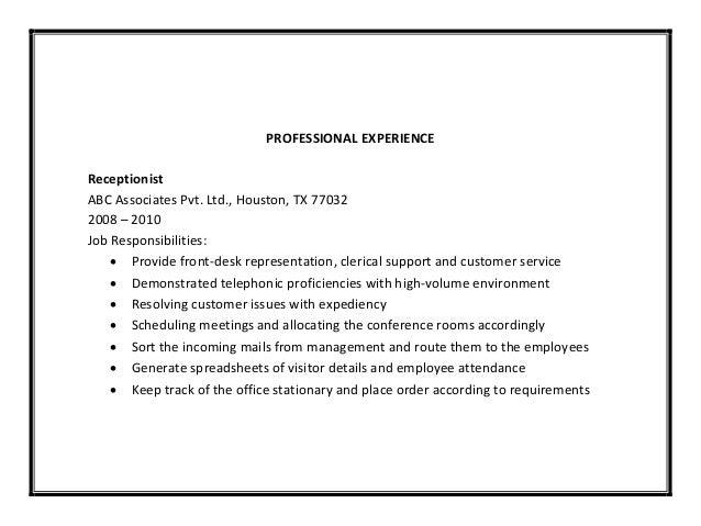 job duties of a receptionist for resumes