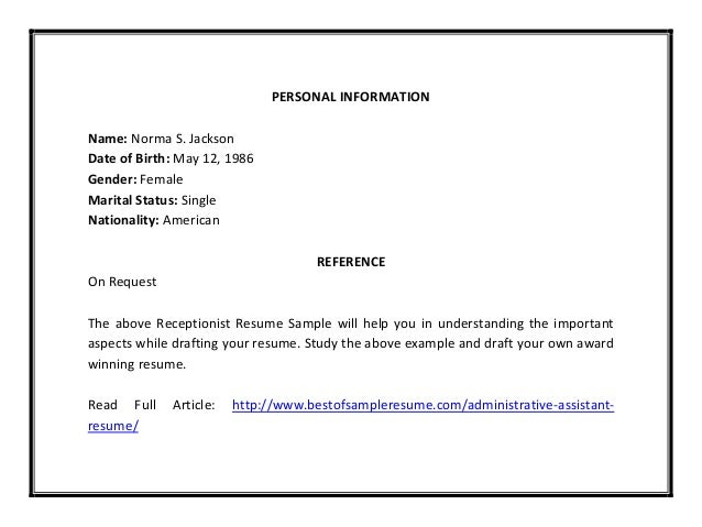 Receptionist resume sample pdf – Receptionist Resume Template