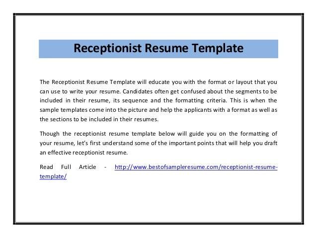 Receptionist Resume ...  Receptionist Resume Summary